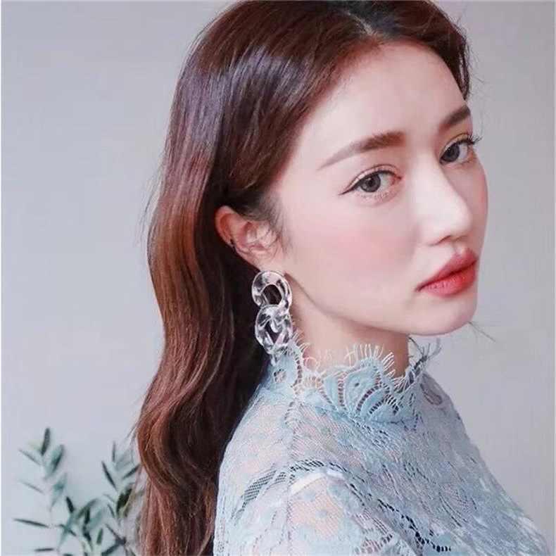 Fashion long transparent acrylic chain earrings for women dangle earring boucle d'oreille femme 2019 earings oorbellen jewelry