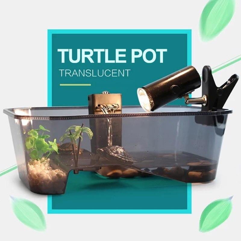 Aquarium Turtle Tank Tortoise Habitat Plastic Balcony Pet Supplies Terrapin Reptile Water Practical Efficient Fish Pet feed box