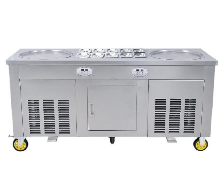 CE Certified Double round pans roll Fried/fry Ice Cream Maker/making roller/roll/rolled machine (free shipping by sea) ce fried ice cream machine stainless steel fried ice machine single round pan ice pan machine thai ice cream roll machine