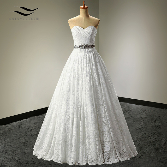 2017 A-line Sweetheart Plus Size Real Photo Lace Princess Wedding Dresses Ball Gown Sashes China vernassa Bridal Gown SLD-W90099