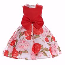 e102e050e78 Red Color Summer Kids Dress Flower Print Girls Sleeveless Vestidos with Bow  Baby Princess Party Wedding Out wearing for 3-8 Yrs