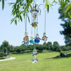 H & d pendurado anjo da guarda cristal prisma bola suncatcher arco-íris ornamento cabide com gancho decoração de casamento em casa, 16-Polegada