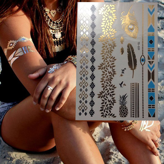 1pcs Gold Sexy Body Art Nontoxic Tattoo Henna Pineapplen Tree Flower Stlye Bracelet Design Temporary Tattoo Stickers
