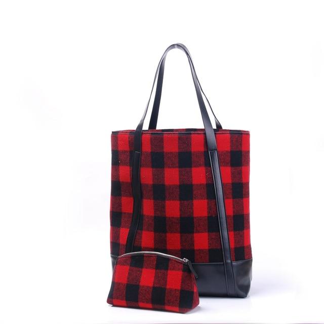 a8be7b73ec4 Christmas Buffalo Plaid Tote Wholesale Blanks Red Check Handbag Mummy Purse  with a Moveable Shell Bag Free Shipping DOM106738
