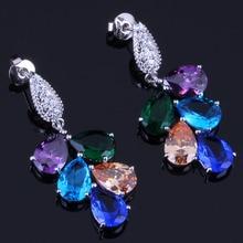 Absorbing Big Multigem Multicolor Brown Cubic Zirconia 925 Sterling Silver Drop Dangle Earrings For Women V0337