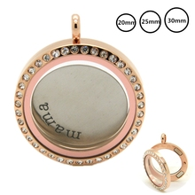 20/25/30MM Rose Gold Magnetic Glass Locket Stainless Steel Floating Charms Living Memory Necklace Pendants