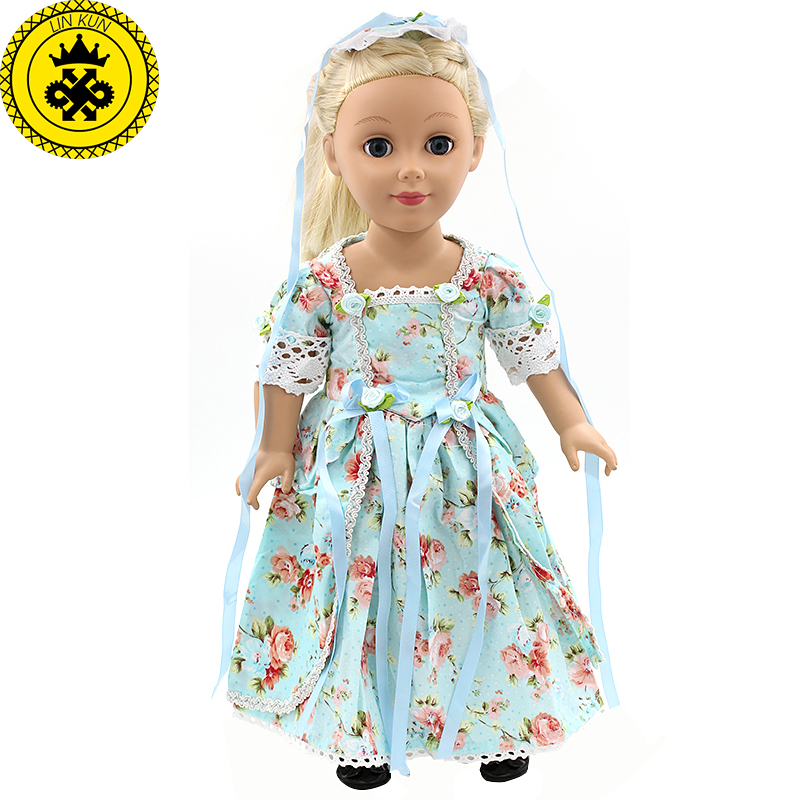 American Girl Doll Clothes Elegant Color Flower Print Long Dress Doll Clothes For 18 American Girl Best Gift 5 Colors D-2