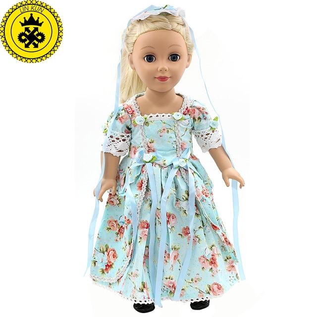 4bac876c1c -Ropa de la muñeca de niña Color elegante estampado de flores vestido largo  ropa de