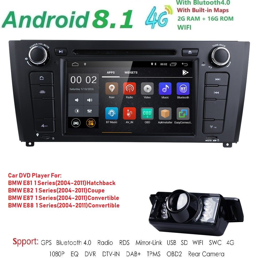 1 Din Android 8.1 GPS Car DVD Player For BMW 1 Serie E87 E81 E82 E88 I202004 2005 2006 2007 2008 2009 20102011 screen Navigation