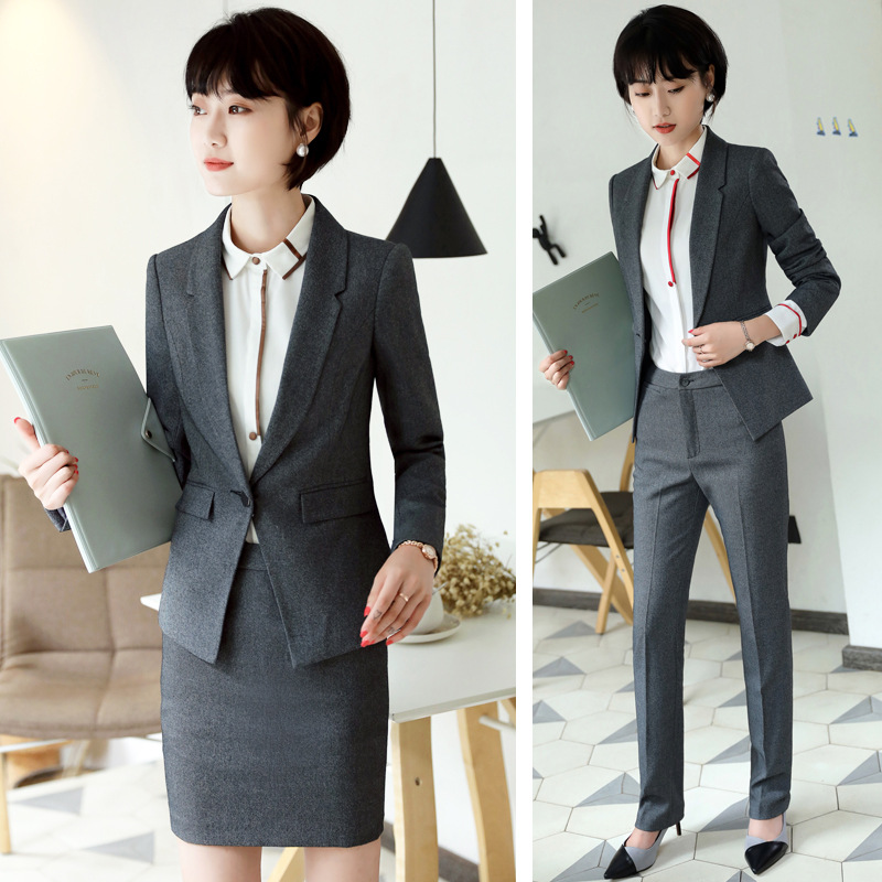 New Spring Womens Long Sleeve Professional Womens Pants Set 2 Two Piece Sets Suit OL White Collar Executive Work Uniform