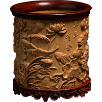 Bamboo eagle wood carving wood creative office wooden retro hand carved crafts wenwan ornaments natural bamboo pen holder