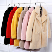 Для женщин новый Дубленки Настоящее пальто с мехом Натуральная Овечья Меховые пальто Для женщин длинный мех ягненка пальто
