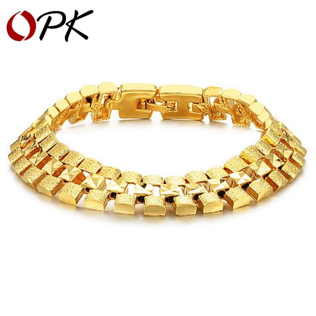OPK JEWELRY Box Packing! Brand Design Gold plated Chunky bracelets 12mm X 18.5cm luxury Wedding Jewelry, FREE SHIPPING 742