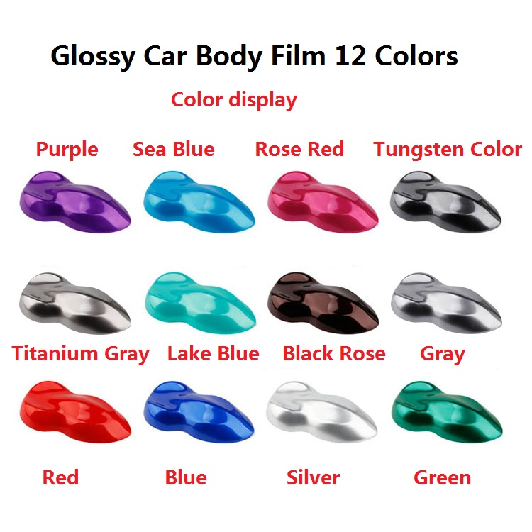 2pcs 50*150cm Glossy Car Body Film Beautiful Purple Red Blue Gray Scratches Cover PVC Interior Vinyl Wrap Styling Stickers 152cmx18m premium polymeric pvc light blue ice matte chrome vinyl film car styling wraps whole body stickers with air channel