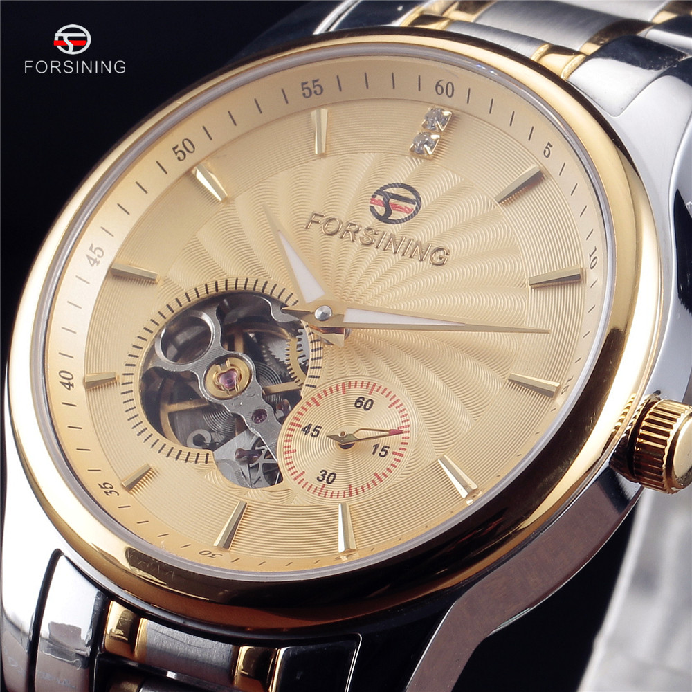 Fashion Luxury Brand FORSINING Mens Watch Tourbillon Hollow Automatic Mechanical Wristwatch For Men Gift Stainless Steel Watches hollow brand luxury binger wristwatch gold stainless steel casual personality trend automatic watch men orologi hot sale watches
