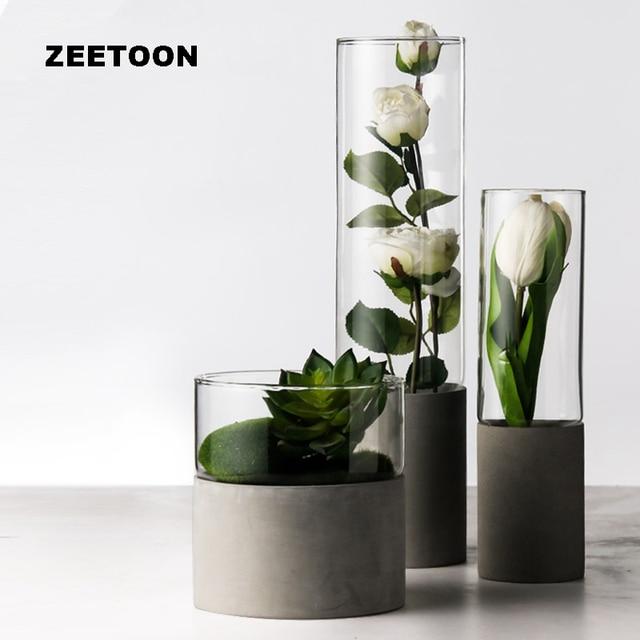 Post Modern Cement Glass Vase Japanese Ikebana Tabletop Flower Pot