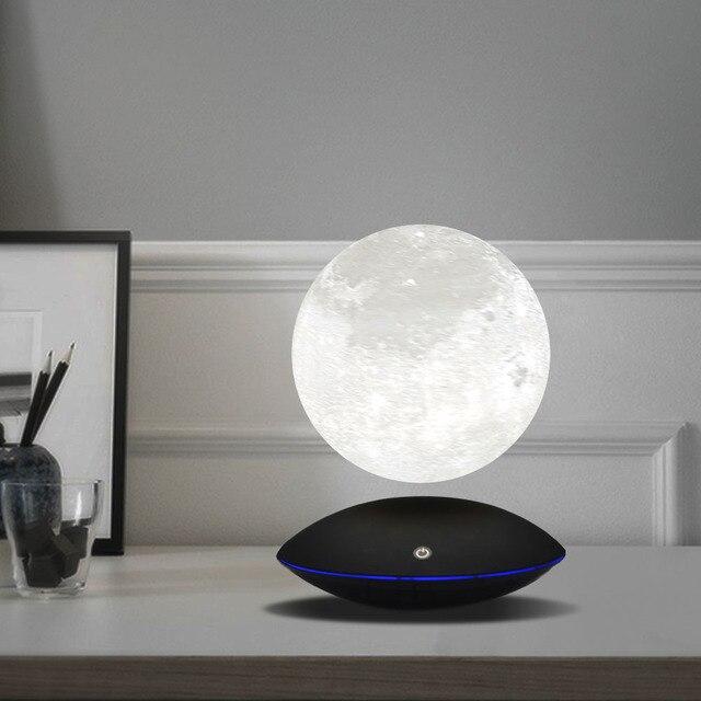 Magnetic Levitating 13.5 ซม. 3D Moon 360 หมุน Night โคมไฟลอยสัมผัสแสงโรแมนติกตกแต่งบ้านสำหรับห้องนอน