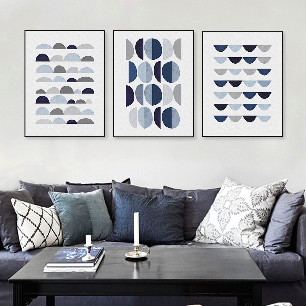 modern original abatract blue geometric shape canvas large a4 art print poster nordic wall pictures home decor painting no frame