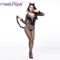 Sexy cat girl fun uniform temptation black Siamese hollow role play cat female black villus sexy suit + cat ears headdress