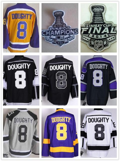 f7ef685d573 Los Angeles Kings Hockey Jerseys  8 Drew Doughty Jersey Black White Greey  Purple Gold LA Kings Champions Jersey