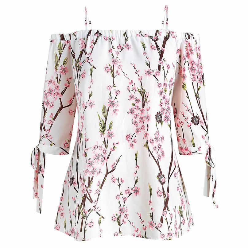 花柄コールドトップス大サイズスラッシュネック半袖カジュアルな女性のプラスサイズ夏ブラウスオフショルダーカミーサ #15