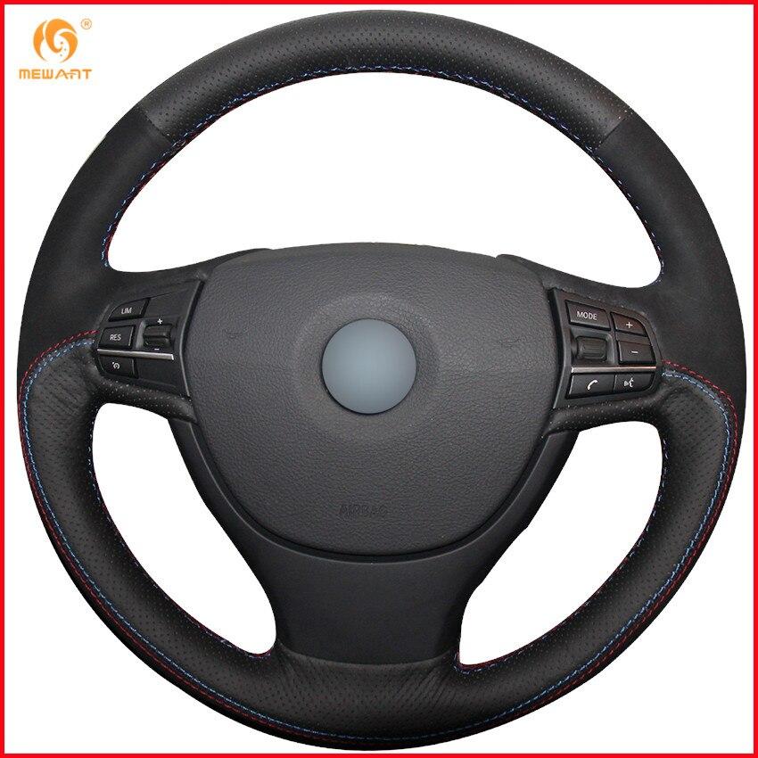 Aliexpress Com Buy Mewant Black Genuine Leather Black: MEWANT Black Genuine Leather Black Suede Car Steering