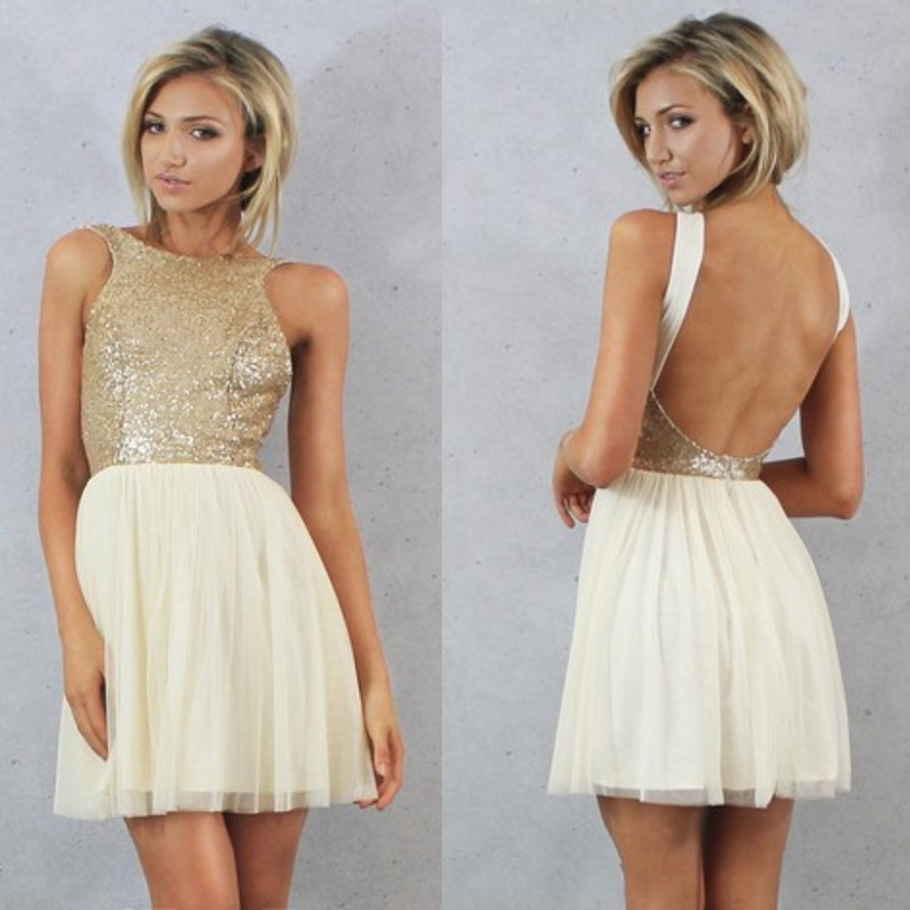 Popular champagne backless bridesmaid dresses buy cheap champagne champagne gold sequin short bridesmaid dresses 2017 a line backless cheap wedding party dresses robe ombrellifo Image collections