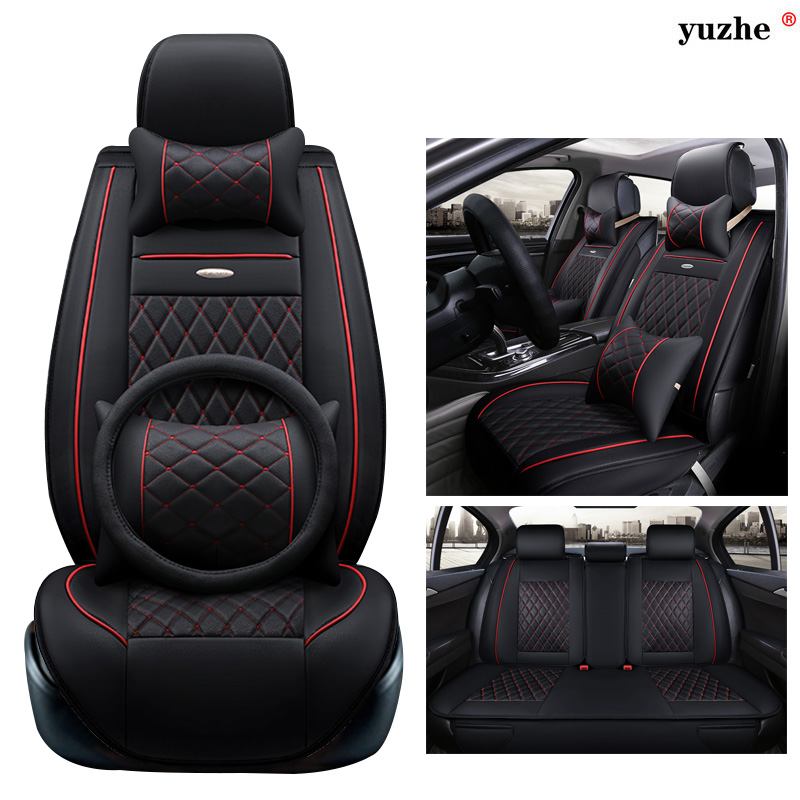Yuzhe leather car seat cover For Ssangyong Rodius ActYon Rexton Korando Tivolan XLV car accessories styling cushion front rear high quality leather universal car seat cushion seat covers for ssangyong korando actyon kyro auto seat protector