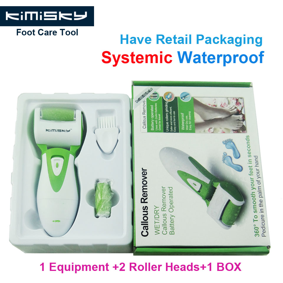 New Green waterproof pedicure tool electric tools Foot Care Exfoliating with roller heads scholls function box