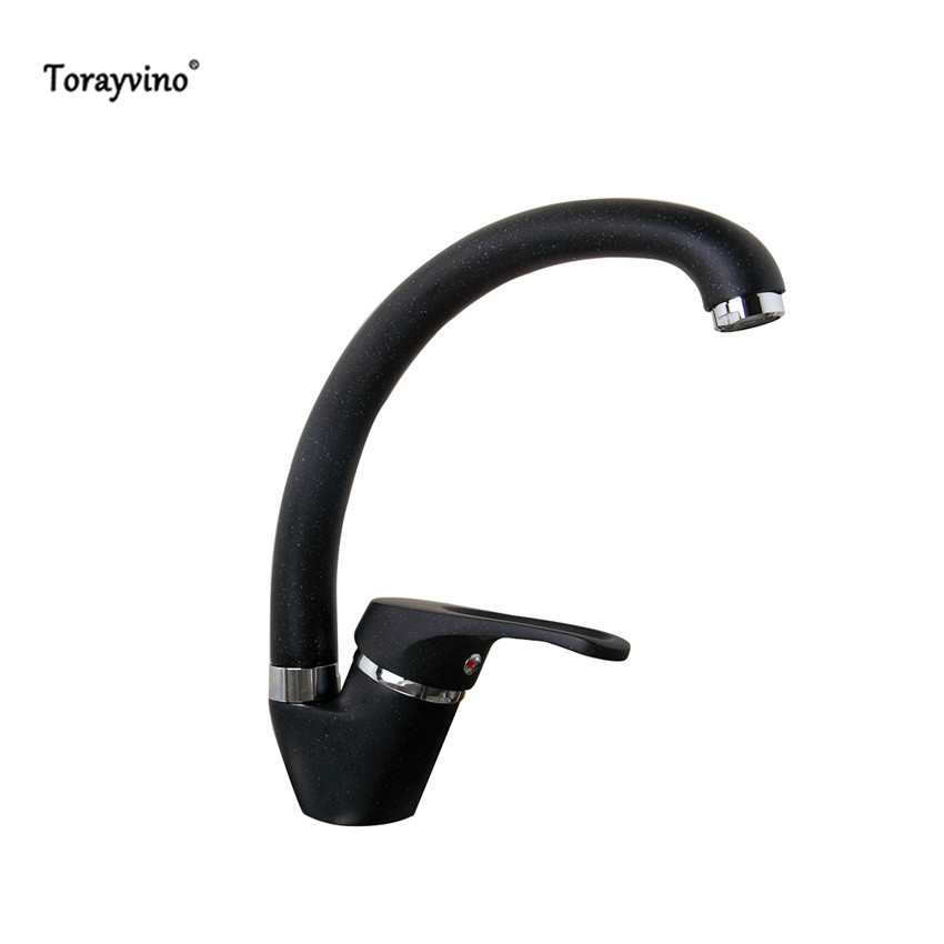 Torayvino Kitchen Sink Swivel Black Painting Finished Kitchen Faucet Single Handle Mixer