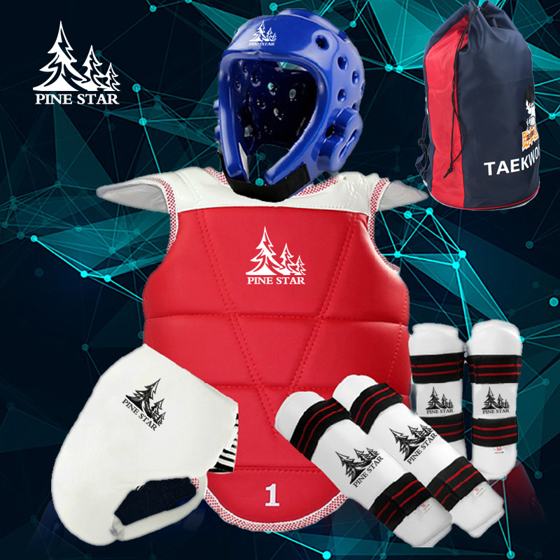WTF Taekwondo Sparring Gear Protectors Guards Complete one Set Helmet Chest Arm Shin Groin Guard jockstrap Protector taekwondo protective gear set wtf hand chest protector foot shin arm groin guard helmet 8pcs children adult taekwondo karate set page 8