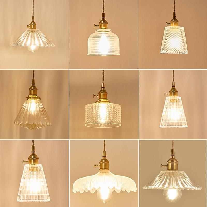 Japanese-style Brass Glass Pendant Light Nordic Creative Minimalist Single Head E27 Pendant Lamp For Restaurant Bar Balcony Cafe