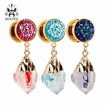 2018 KUBOOZ new jewelry ear plugs dangle tunnel stainless steel gold piercing wholesale expander gauges