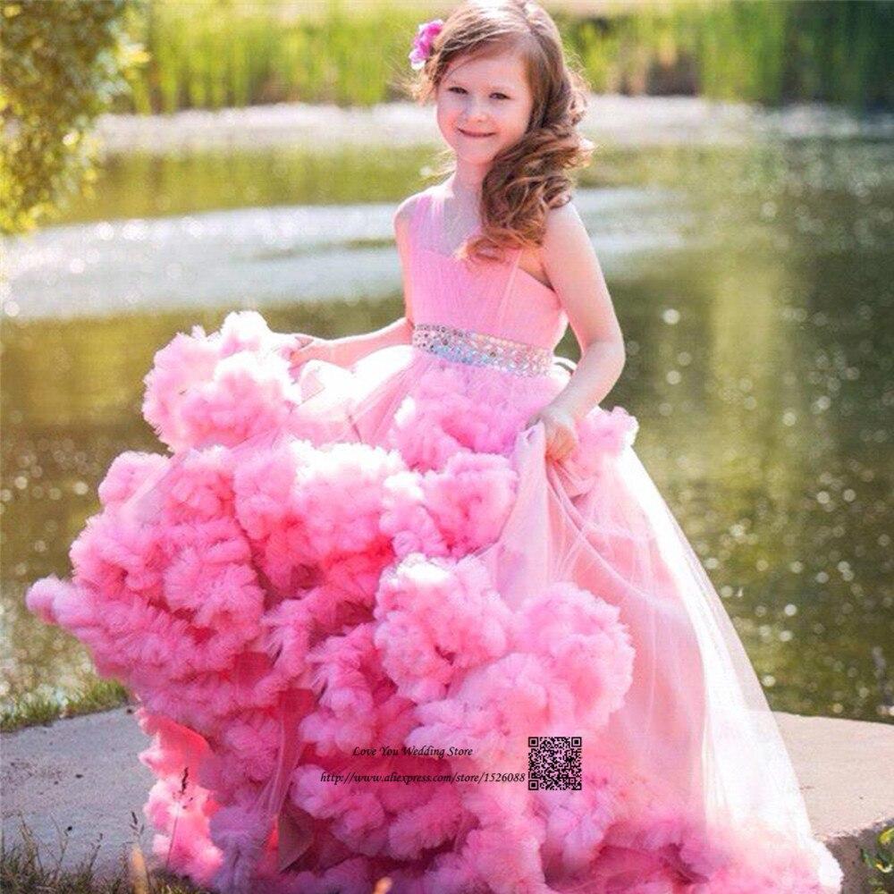 маленькие девочки Милый Розовый Мать Дочь Платья Маленькие Девочки Вечерние Платья Оборками  Тюль Pageant Платья для Девочек Glitz