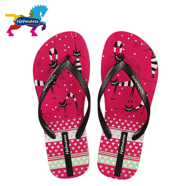 bda803afd528f8 Online Shop Hotmarzz Women Slippers Beach Flip Flops Cute Kitty Cat Animals  Fashion Slides Ladies Summer Flat Thong Sandals