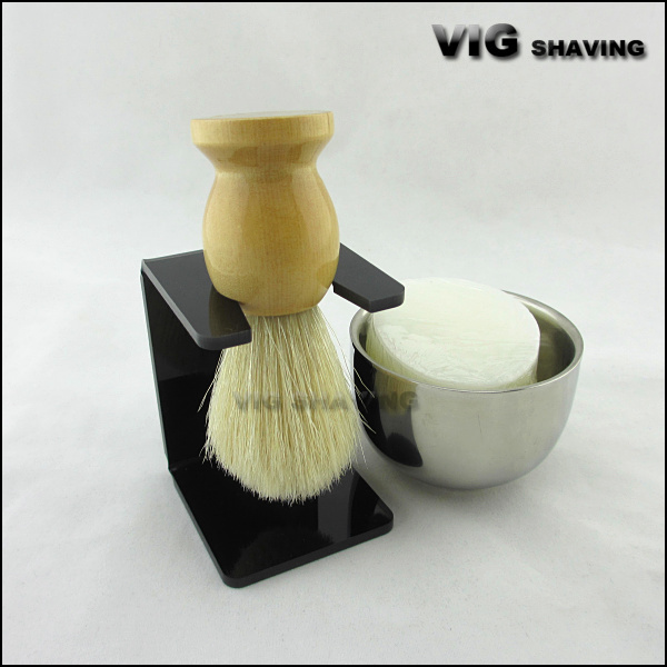 wood handle Faxu badger color boar bristle acylic stand shaving kits with shaving soap