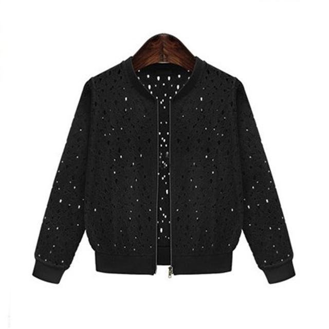 Women's 2018 Summer Long Sleeves Jacket Full Lace Short Sunscreen Thin Coat Hollow Out Female Jackets 3