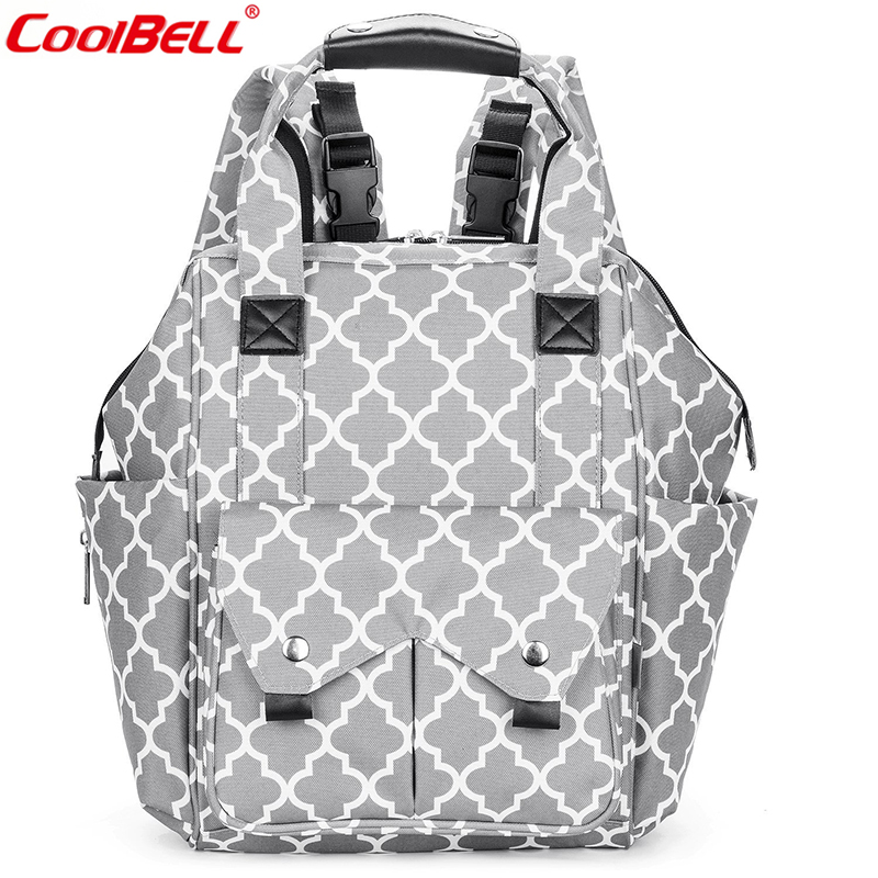 CoolBell New Arrival Fashion Large Capacity Baby Diaper Bag With Stroller Strap Changing Pad High Quality Nappy Bag Backpack