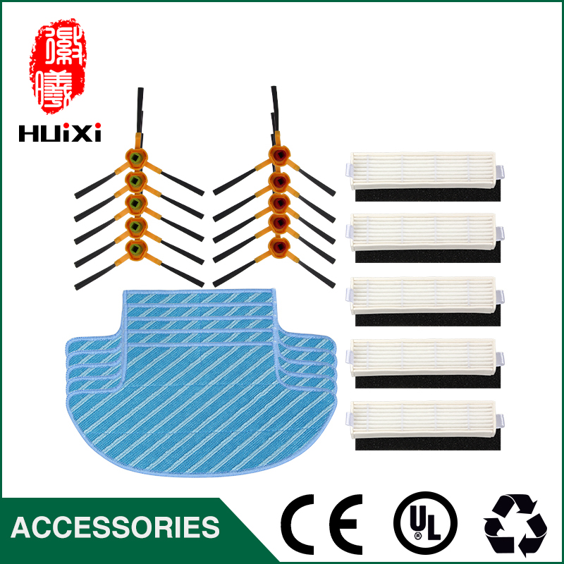 Durable Microfiber Mop Cloth + Vacuum cleaner Side Brush + HEPA Filter for Robot Vacuum Cleaner Parts for D36A TCR-S TCR-S2 5x ecovacs hepa filter and 5x fine filtration cotton replacement for d36a tek tcr s tcr s2 tcr660 m1