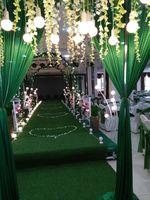 Sentetik Ipek Saten Kumaş düğün doğum günü ev dekorasyon Organze Kumaş masa perde için, Hediye Kutusu Astar Bez Yeşil Renk