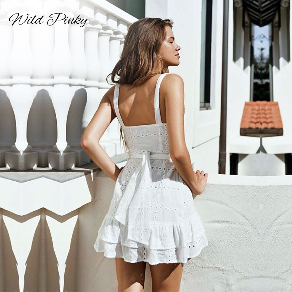 CUERLY Spaghetti Strap Backless Mini Summer Dress Women Embroidery Cotton Lace Up White Hollow Out Female Beach Dresses Vestidos in Dresses from Women 39 s Clothing