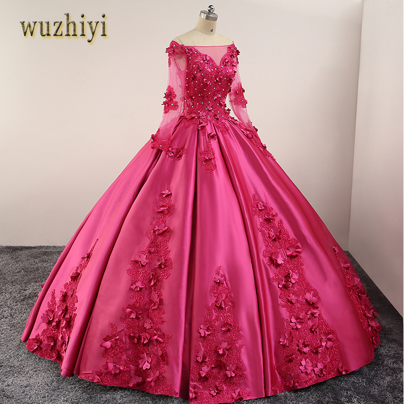wuzhiyi vestido de noiva Custom made Princess Satin Apliques Wedding dress Lace-up Back vestidos with Passionate For Wedding2018