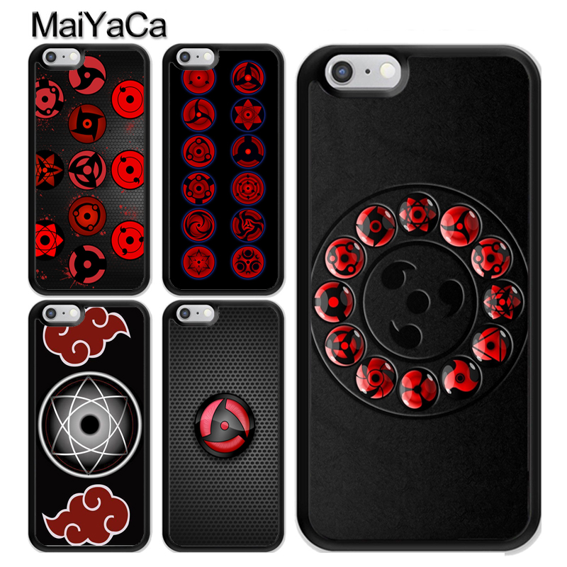 MaiYaCa Naruto Sasuke Sharingan Eyes Phone Case For iPhone XS MAX X XR 8 7 6 6s Plus TPU Cover For iphone 5 5s SE Phone Bag Capa in Fitted Cases from Cellphones Telecommunications