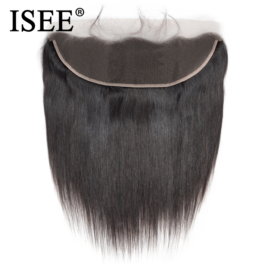 ISEE HAIR Malaysisk Straight Hair Frontal Lace Closure 13 * 4 öron - Mänskligt hår (svart)