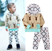 Newborn Baby Boys Clothes Hooded Tops Pants Trousers Outfits 2PCS Set 0-24M