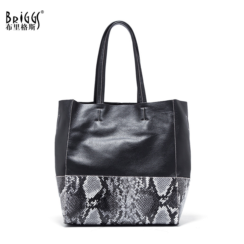 BRIGGS Fashion Women Handbag Famous Brand Genuine Leather Shoulder Bag Luxury Casual Tote Women Bag Ladies Bag Bolsa feminina genuine leather tote boston bag ladies handbag bolsa feminina women leather handbags luxury design mupo brand popular classics