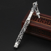 S925 Sterling Silver Thai Silver Creative Hollow Flower Vine Small Holy Sword Ball Pen Men And Women Pendant Birthday Gift
