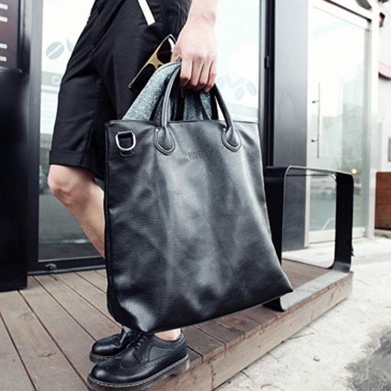 X-Online Hot Sale Man Handbag Male Fashion Large Tote Men Simple Black Bag