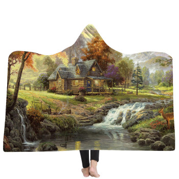 Natural Jungle 3D Print Hooded Blanket 1