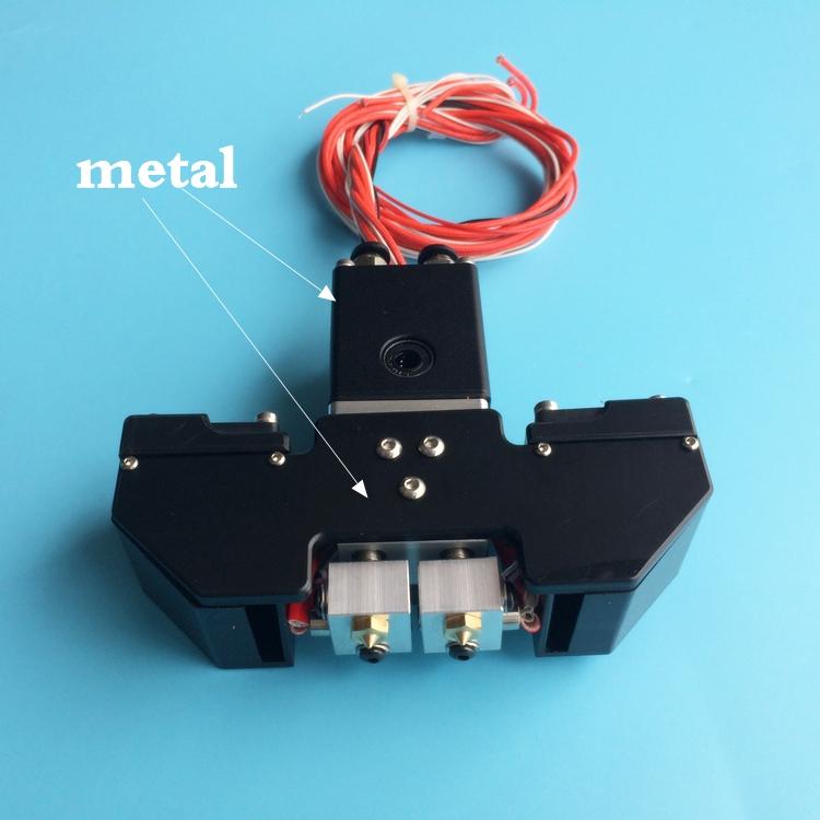 Prix pour Nouveau Design! Ultimaker 2 + Étendu Ultimaker 3 3D imprimante Chimère Extrudeuse Double Extrusion W/Aluminium croix curseur et Ventilateur conduit